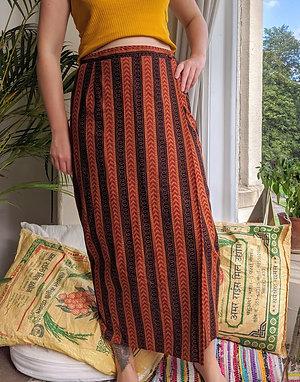 High Waisted Block Print Wrap Skirt
