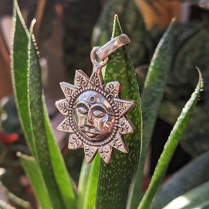 Large Sun Pendant   Sterling Silver