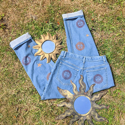 Hand Painted Sun, Stars & Moon Jeans
