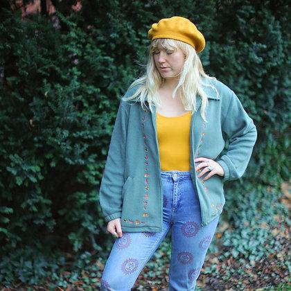 Unisex Vintage Leaf Fleece Jacket