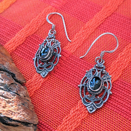 Black Vintage Dangle Earrings | Sterling Silver