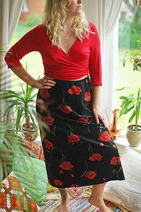Vintage Velvet Poppy Midi Skirt
