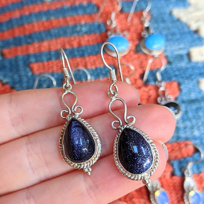 Vintage Glitter Indian Tumble Stone Earrings | Silver Plated