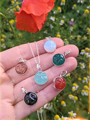 Moon Face Pendant Thick Sterling Silver & Healing Gemstone - Choose Stone