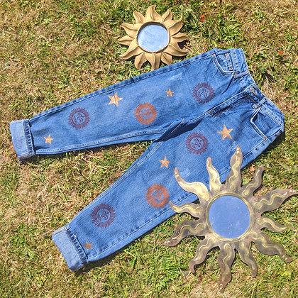 Hand Painted Sun & Stars Jeans