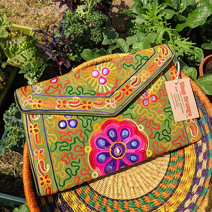 Beautiful Earthy Embroidered Olive Bag
