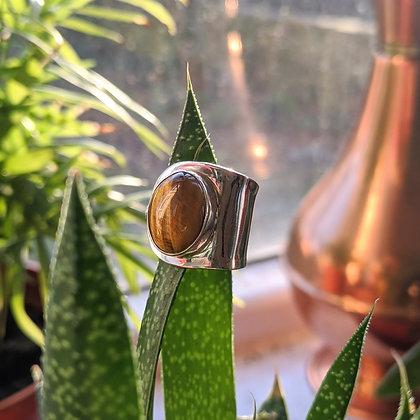 Large Tigers Eye Adjustable Ring | Sterling Silver