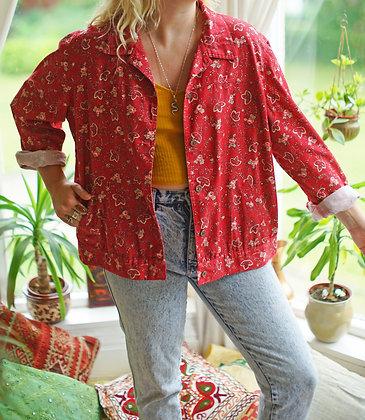 Vintage Botanical Denim Shirt Jacket