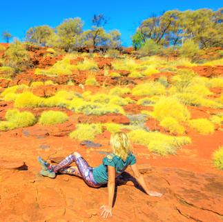 shut OUTBACK Woman Tourist in Landscape