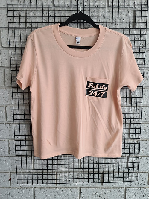 PINK FL POCKET TEE