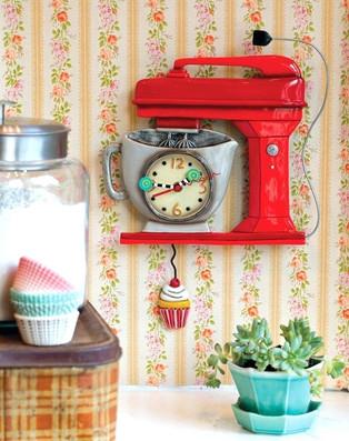 Vintage Mixer Red Clock