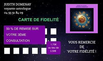 carte de fidélité de Judith Voyante astrologue, votre troisième consultation à moitié prix