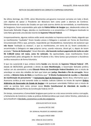 NOTA DE ESCLARECIMENTO DA CARREATA À IMPRENSA SERGIPANA