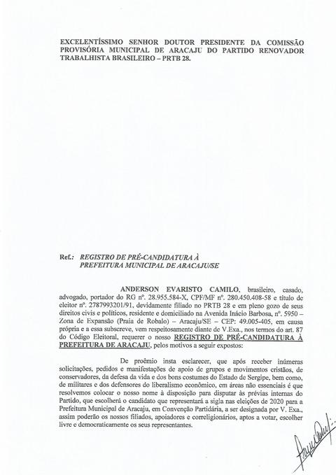 ANDERSON CAMILO É PRÉ-CANDIDATO A PREFEITO DE ARACAJÚ