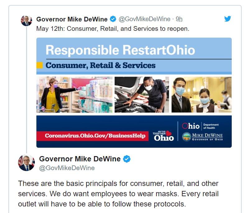 Thống đốc bang Ohio có kế hoạch tái mở cửa vào 12/05