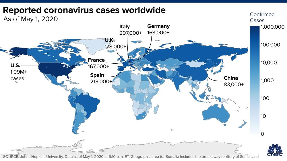 Cập nhật tình hình dịch Corona toàn cầu tính đến ngày 01/05