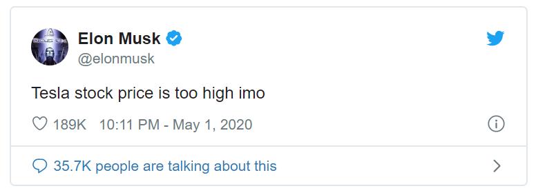 Elon Musk cho rằng giá cổ phiếu Tesla hiện đang quá cao