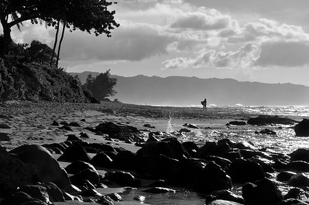A lone surfer gets ready to hit the waves - Haleiwa, Hawaii