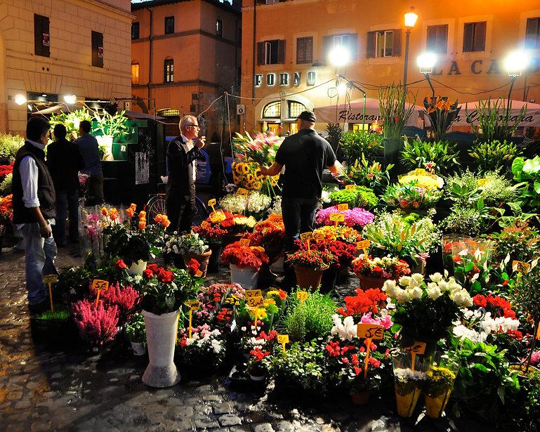Flower market at the Campo dei Fiori in Rome