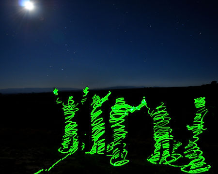 10 year college reunion in Goblin Valley State Park. Time lapse with green laser.