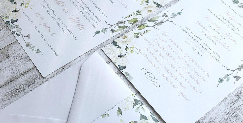 "Esküvői meghívó - Greenery ""White flower"""