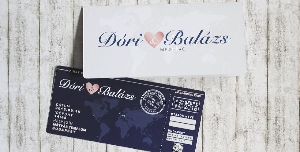 Esküvői meghívó - Beszállókártya
