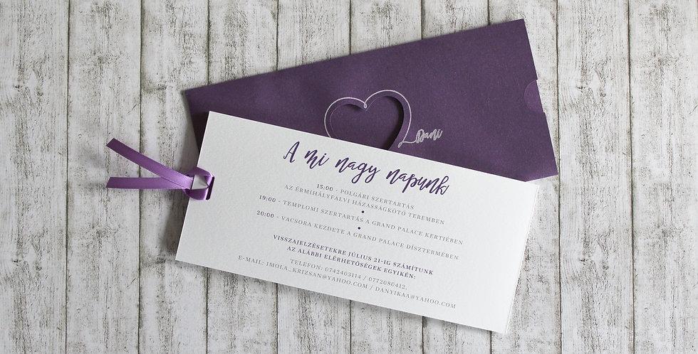Esküvői meghívó - Ujjlenyomat szív