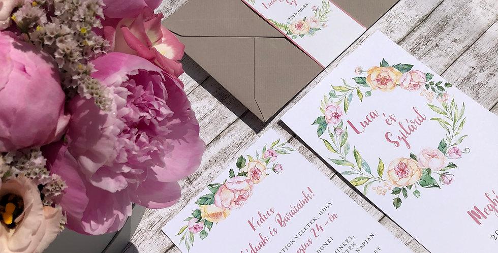 "Esküvői meghívó - Greenery ""puder flower"""