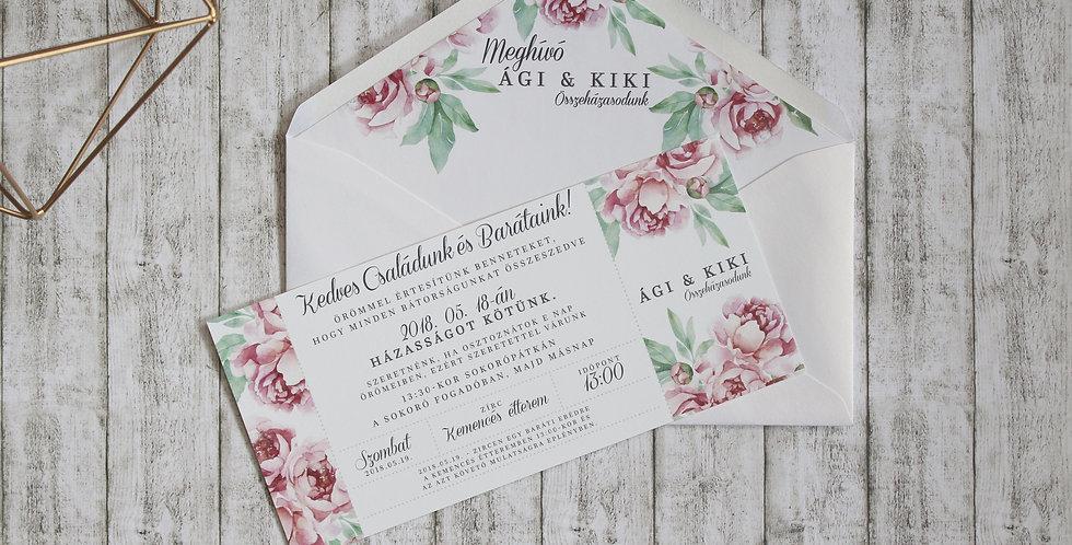 Esküvői meghívó - Romantikus virág