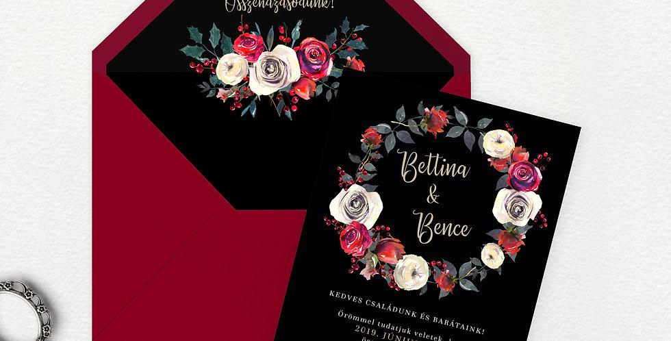 Esküvői meghívó - Red and Black
