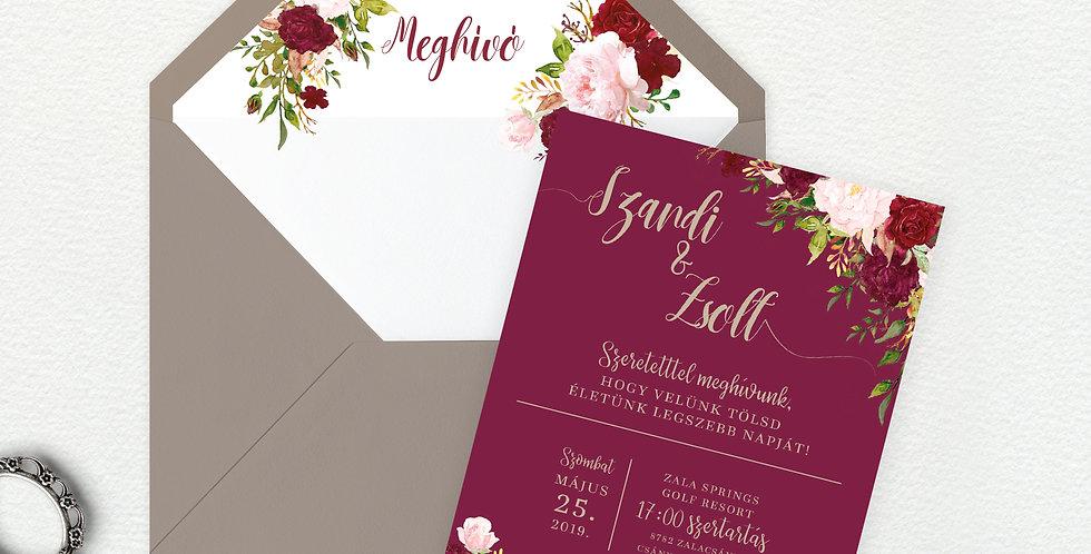 Esküvői meghívó - Deep roses