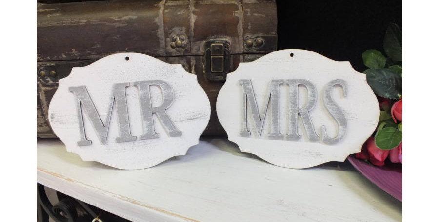 Mr & Mrs tábla dísz