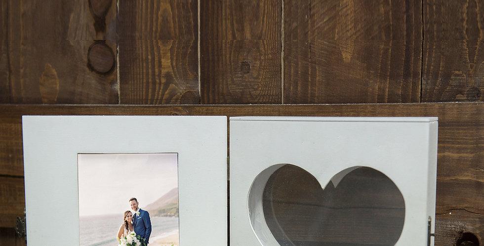 Homokceremónia - Doboz szív kivágással és fényképpel