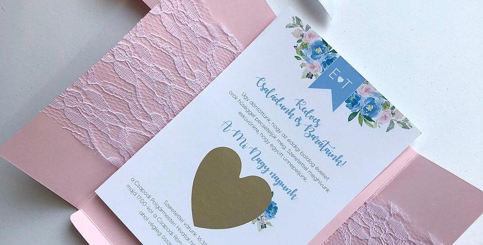 Esküvői meghívó - Csipkés tokban szív matricával