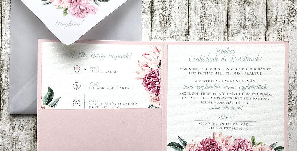 Esküvői meghívó - Pausz borírékban és kártyatartó tokban
