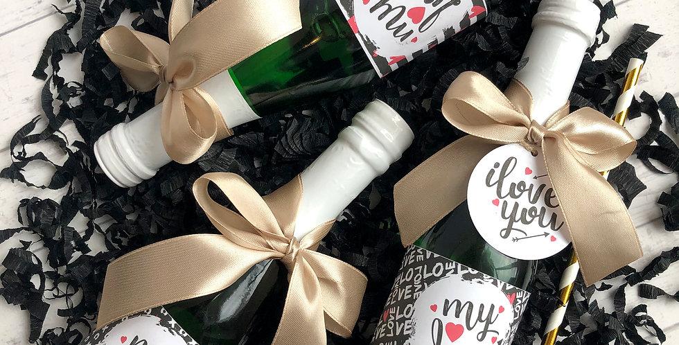 Valentin napi Mini pezsgő szett