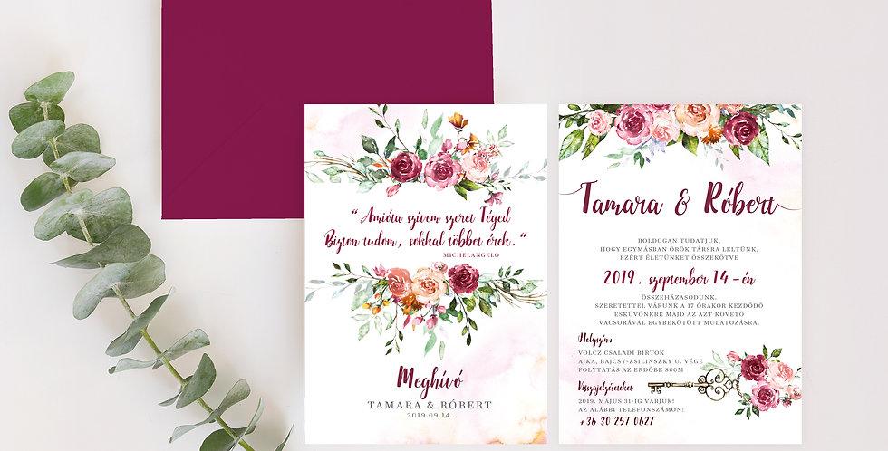 Esküvői meghívó - Roses and key