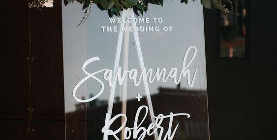 Esküvői Welcome plexi tábla S-es méret