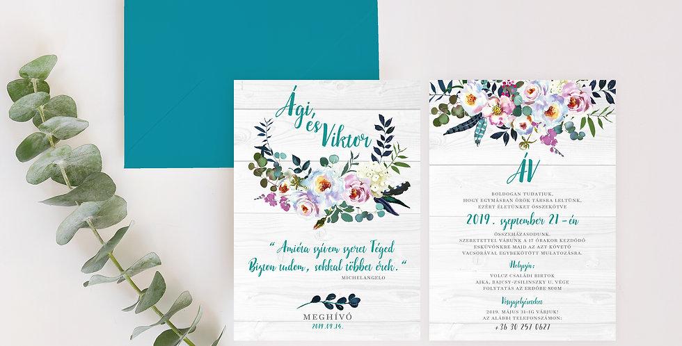 Esküvői meghívó - Blue flowers