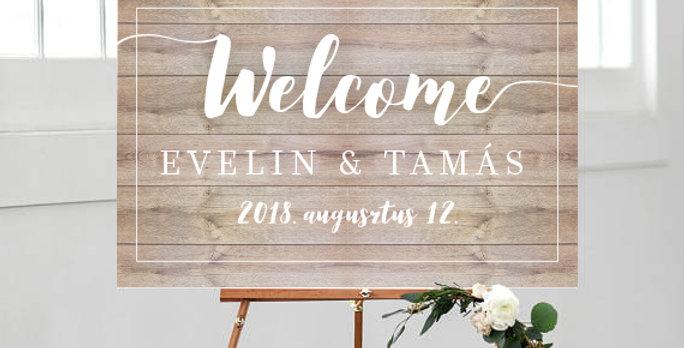 Esküvői Welcome tábla L-es méret