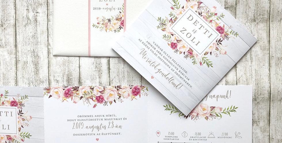 Esküvői meghívó - Leporello