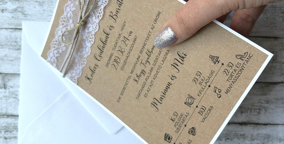 Esküvői meghívó - Wintage csipke