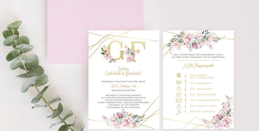 Esküvői meghívó - Spring flowers