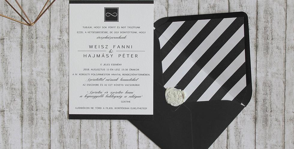 Esküvői meghívó - Elegáns fekete-fehér
