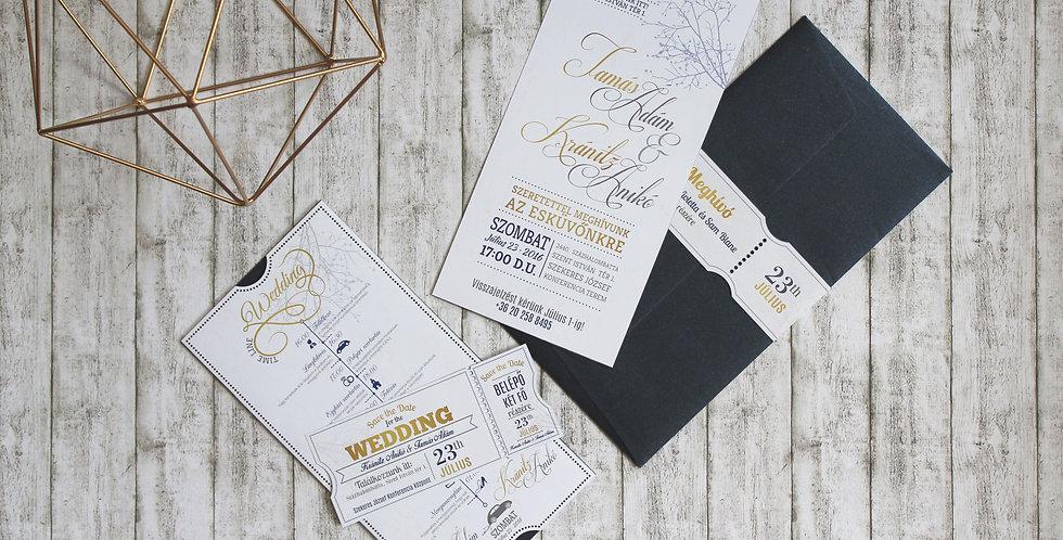 Esküvői meghívó - Klasszikus elegáns kiegészítőkkel