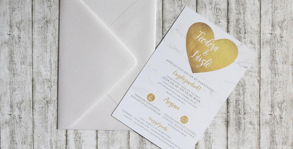 Esküvői meghívó - Márvány szív