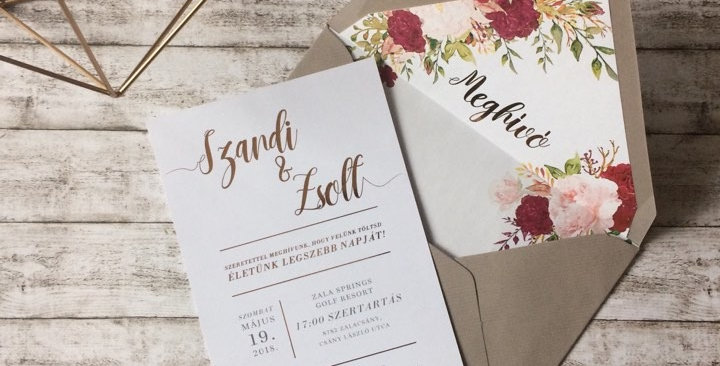 Esküvői meghívó - Arany fólia
