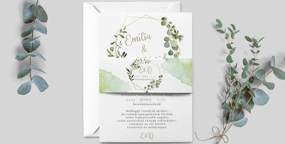 """Esküvői meghívó - Greenery """"Geometria és akvarell"""""""