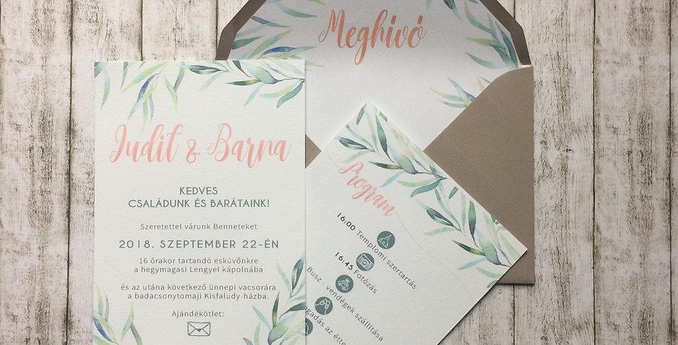Esküvői meghívó - Greenery 2.
