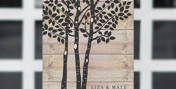 Kreatív emlékkönyv - Esküvői tábla S-es méret (Forest design)